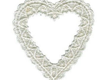 "3"" - 7.5 cm Ivory Heart Venice Applique"