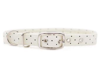 Cream Polka Dot Dog Collar