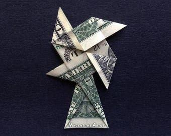 WINDMILL Money Origami Dollar Bill Cash Sculptors Bank Note Handmade Dinero