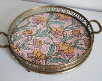 Vintage 30s small Art Nouveau Sarreguemines faience and brass tray