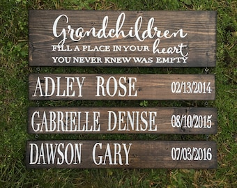 Grandchildren fill a place in your heart you never knew was empty - customizable to name and date of births