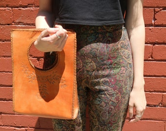 Vintage Boho Tan Leather Tooled Bag