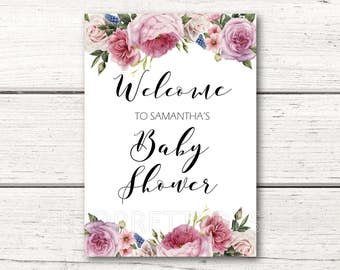 Printable Personalized Baby Shower Welcome Sign - Pink Floral - Its A Girl - DESIGN 110