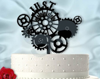 Gears SteamPunk Inspired Wedding Cake Topper