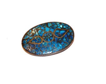 Vintage Made in India Turquoise Chip Bohemian Brooch, Hippy Pin