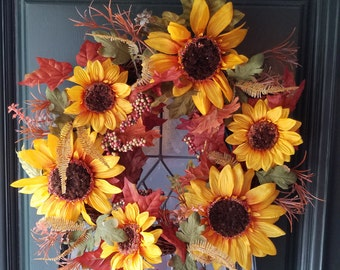 Round Sunflower Fall Wreath