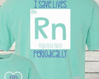 Monogrammed Nurse RN Nurse Student Life Shirt Customized Personalized I Save Lives Periodically!