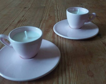 Pair of Pink Teacup Candles and Saucers