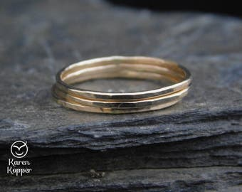 Set of 3 14k Gold filled rings (Rose or yellow), or Sterling Silver, thin ring, 1mm ring. Skinny ring, thin ring, stacking ring.