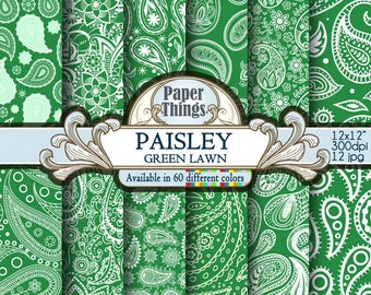 Pattern Digital Paisley Background, Green Lawn Paisley Digital Paper, Indian Paisley Scrapbook Paper with Green Lawn Printable Patterns