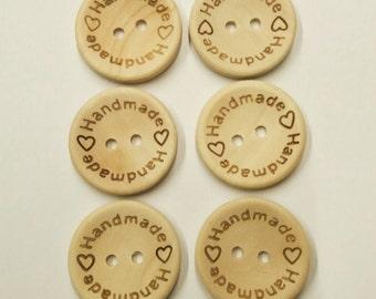 """Set of 6 Wooden Buttons """"Handmade"""" 25mm - set di 6 bottoni di legno """"Handmade"""" 25mm"""