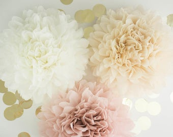 "Pompoms 9 ( 19""-10"") paper flower, flower balls, wedding decoration, decoration, paper flower poms, baby shower, engagement party decoration"
