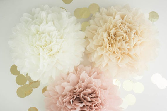 "Pompoms 9 ( 19""-10"") paper flower, flower balls, wedding decoration, decoration, paper flower poms, baby shower, engagement party decoration"