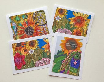 Blank Notecards, Handmade Note Card Stationery, Sunflower Card Gift Set for Friend, Gift for Her