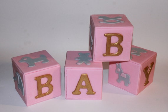 Items similar to baby letters blocks extra large 4 pcs for Alphabet blocks cake decoration