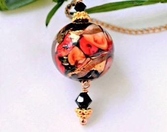 Red Murano Glass Jewelry | Italian Glass Necklace | Murano Lampwork Necklace | Venetian Glass Necklace | Red Flower Murano Pendant