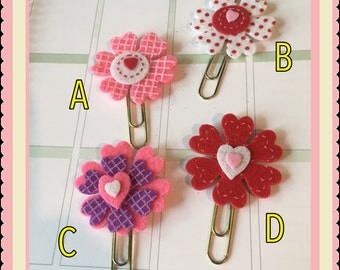 Flower paper clip, bookmark for calendar, planner, agenda, scrapbook