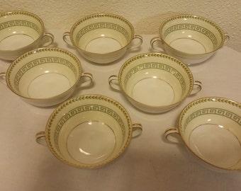 Noritake,Musetta,Handled Soup bowls,Set of 7,No 3702,Green Greek Key Pattern,Green and Gold Noritake china,30s,VERY RARE,soup/consumme bowls