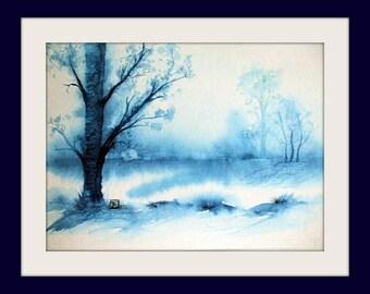 Watercolor - unique - Landscape monochrome - Size 20x30 cm