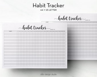 Habit Tracker, Habit Printable, A4 Printable, Daily Habits, Monthly Tracker, Daily Planner, Health Tracker, A4 Binder, A4 insert, Letter