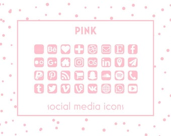 Social Media Icons, Pink Icons, Pink Buttons, Website Icons, Blog Icons, Business Card Icons, Social Media Button, Branding Template