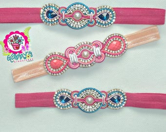 Headbands Soutache, Strass, elastic headbands