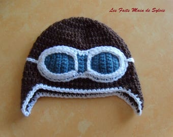 Baby Aviator 3-6 months to crochet Cap