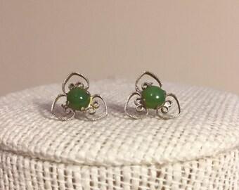 Sterling Silver and Jade earrings