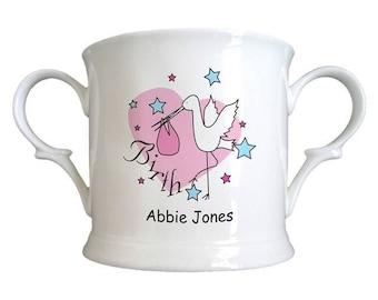 Stork Pink Birth Bone China Loving Cup
