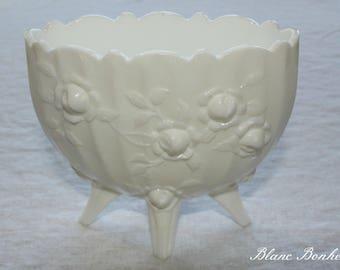 Fenton: Milk Glass white footed vase