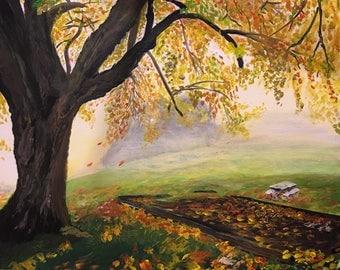 Platz im Herbst, Acrylmalerei  auf Leinwand