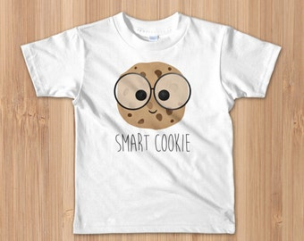 Smart Cookie - Toddler/Kids T-Shirt - Funny Chocolate Chip Cookies Food Pun Smarty Pants Glasses Yummy Intelligent School Gift For Toddlers