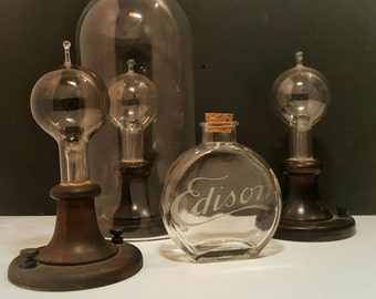 Thomas edison, Menlo park style chemical flask etched edison with cork