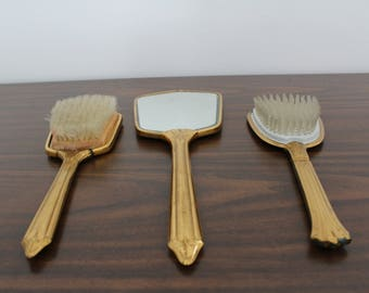 Vintage Gold Hairbrush and Handheld Mirror / Vanity Set / Mid Century / Hollywood Regency / Glam