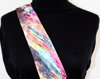 hand painted silk accessory for men; multicolored; perfect for weddings or celebration; tie suitable for father's day