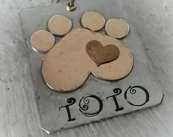 Large dog id - pet id with paw print - customized pet id - dog tag for dogs - pet lover - gift for pet lover - pet accessories