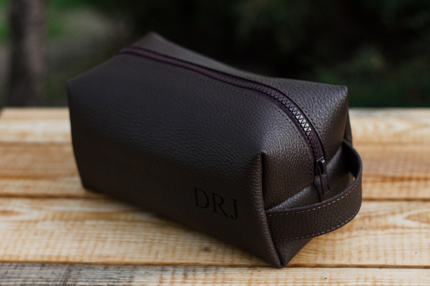 Leather Personalized Dopp Kit  Mens Toiletry Bag  Mens Wash Bag  Mens  Cosmetic Bag  men s travel case  Shaving Bag  Travel kit  Brown. Leather toiletry bag   Etsy