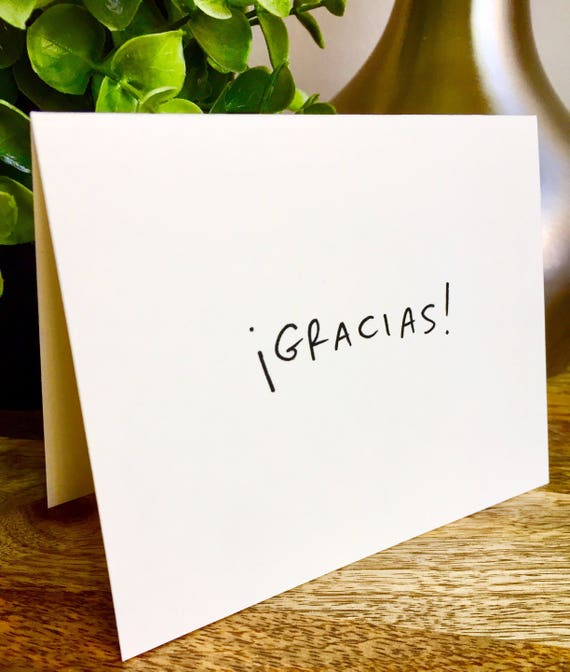 Gracias thank you card, thank you card set unique style, simple thank you card, handlettered stationery, Hand lettered card, gracias card