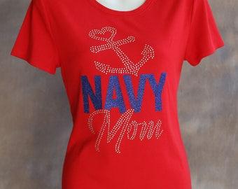 Navy Mom Rhinestone and Glitter T-Shirt