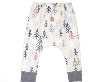 baby pants, baby leggings, organic cotton baby leggings, pine tree baby leggings, modern baby leggings, pink leggings