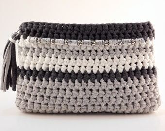 Crochet Clutch, Grey and Cream Purse, Embellished Purse, Handmade Fabric Bag, Trendy Clutch Purse, T Shirt Yarn Clutch, Gift for Her