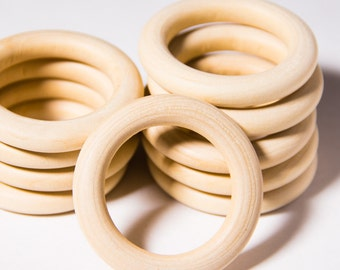 10pcs Natural Organic Unfinished Wooden Rings 50mm - Craft Supply