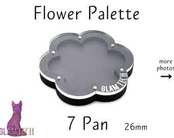 Flower 7pan 26mm Magnetic Makeup Palette - Floral Shaped Eyeshadow Palette - Custom Makeup Storage - Travel Eye Shadow - by GlamTech