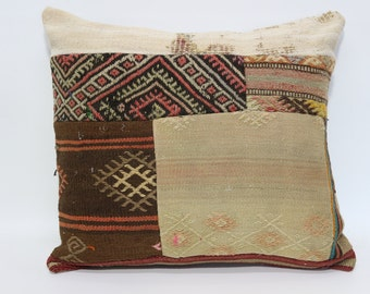 22x24 Turkish Patchwork Kilim Pillow Ethnic Pillow Cushion Cover 22x24 Patchwork Kilim Pillow Sofa Pillow Home Decor Pillow SP5560-741