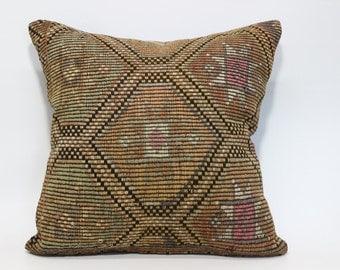 24x24 Naturel Kilim Pillow Handwoven Kilim Pillow Sofa Pillow Embroidered Kilim Pillow Bed Pillow 24x24 Decorative Kilim Pillow  SP6060-1048