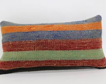 Striped Kilim Pillow Throw Pillow 10x20 Bohemian Kilim Pillow Throw Pillow Anatolian Kilim Pillow Turkish Kilim Pillow  SP3050-930