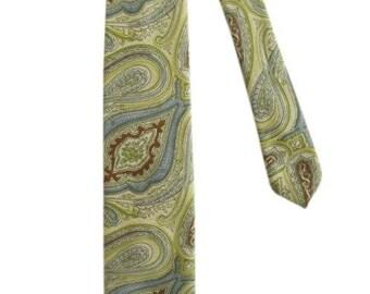 Vintage Liberty of London Yellow, Green, Tan & Aqua Paisley Silk Tie