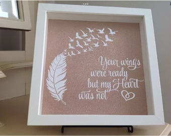 Your Wings Were Ready - White Shadow Box in rose Gold