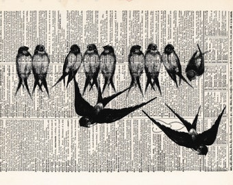 Birds on a wire | Bird | Bird Print | Flowers | Bird Lover | Bird Gift for Friend | Re-purposed Dictionary  | Gift For Friend | Gift