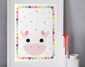 Cow poster, Baby room decor, Children illustration, Kids wall art, Cow painting, Pastel pink, Nursery wall art animals, girl nursery prints